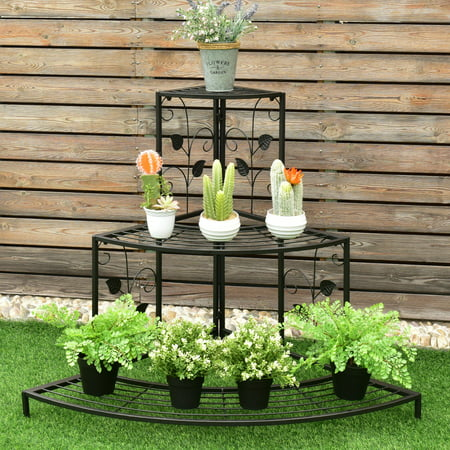 Costway 3 Tier Floral Corner Plant Stand Metal Flower Pot Rack Stair Display Ladder ()