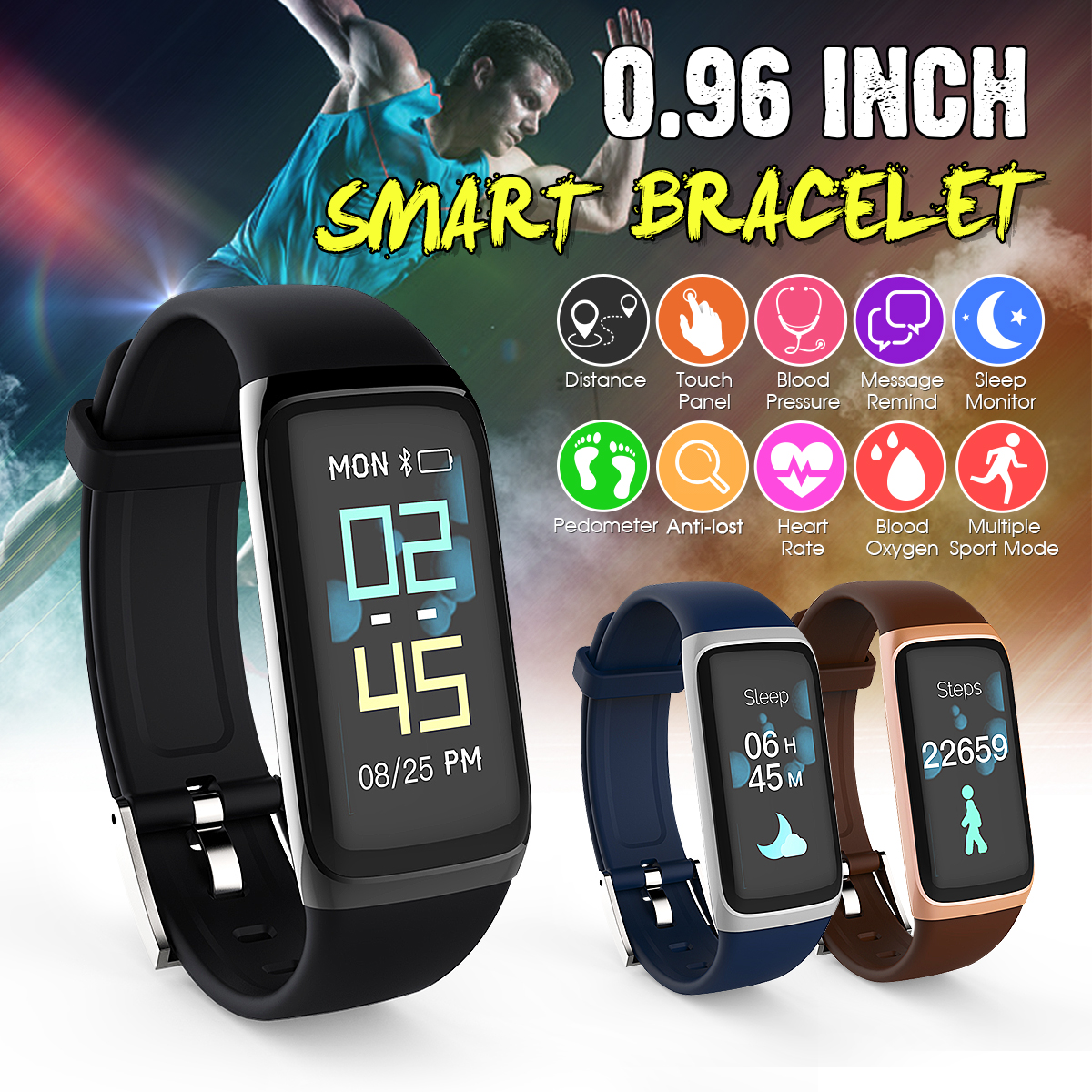 Activity Tracker Watch Smart Watch Waterproof Sports Fitness Tracker Wristband OLED Display Bluetooth Running Wrist Watches Heart Rate Blood Pressure Monitor