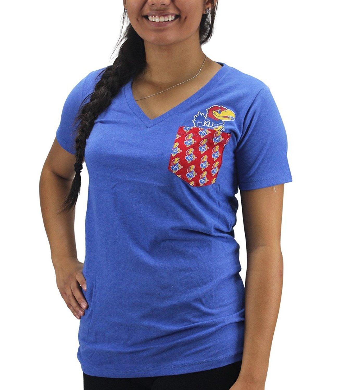 Pressbox Women' s Kansas Jayhawks Red Pocket T-Shirt