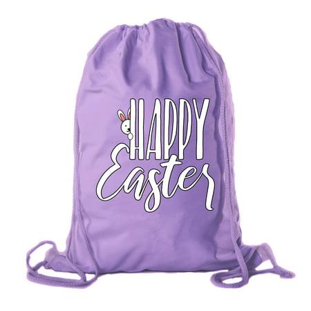 Easter Basket Backpack Bulk Cotton Drawstring Cinch Bags Bunny Gift Peaking