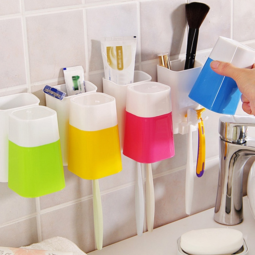 Moderna Wall Mount Stick-on Toothbrush Hanging Stand Holder + Cup Set Home Bathroom