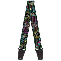 """Electric Tinkerbell Poses Stripes Black Multi Neon Guitar Strap  2.0"""" Wide"""