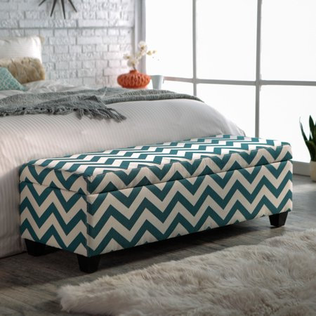 Magnificent Angelo Home Kent Storage Bench Ottoman Blue Chevron Andrewgaddart Wooden Chair Designs For Living Room Andrewgaddartcom
