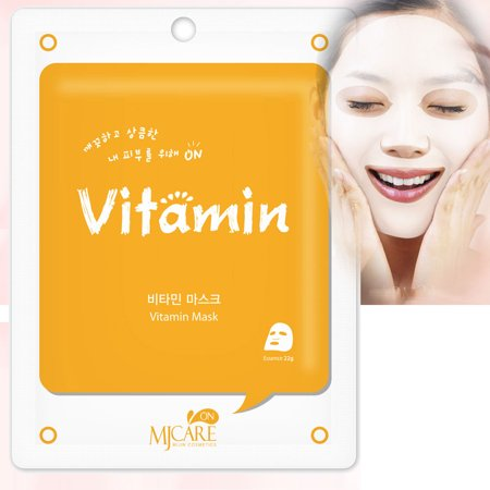 Korean Cosmetics Beauty Rejuvenating Vitamin Premium Essence Mask Pack Sheet, Brightening Anti-wrinkle, Skin Tightening, Pack of