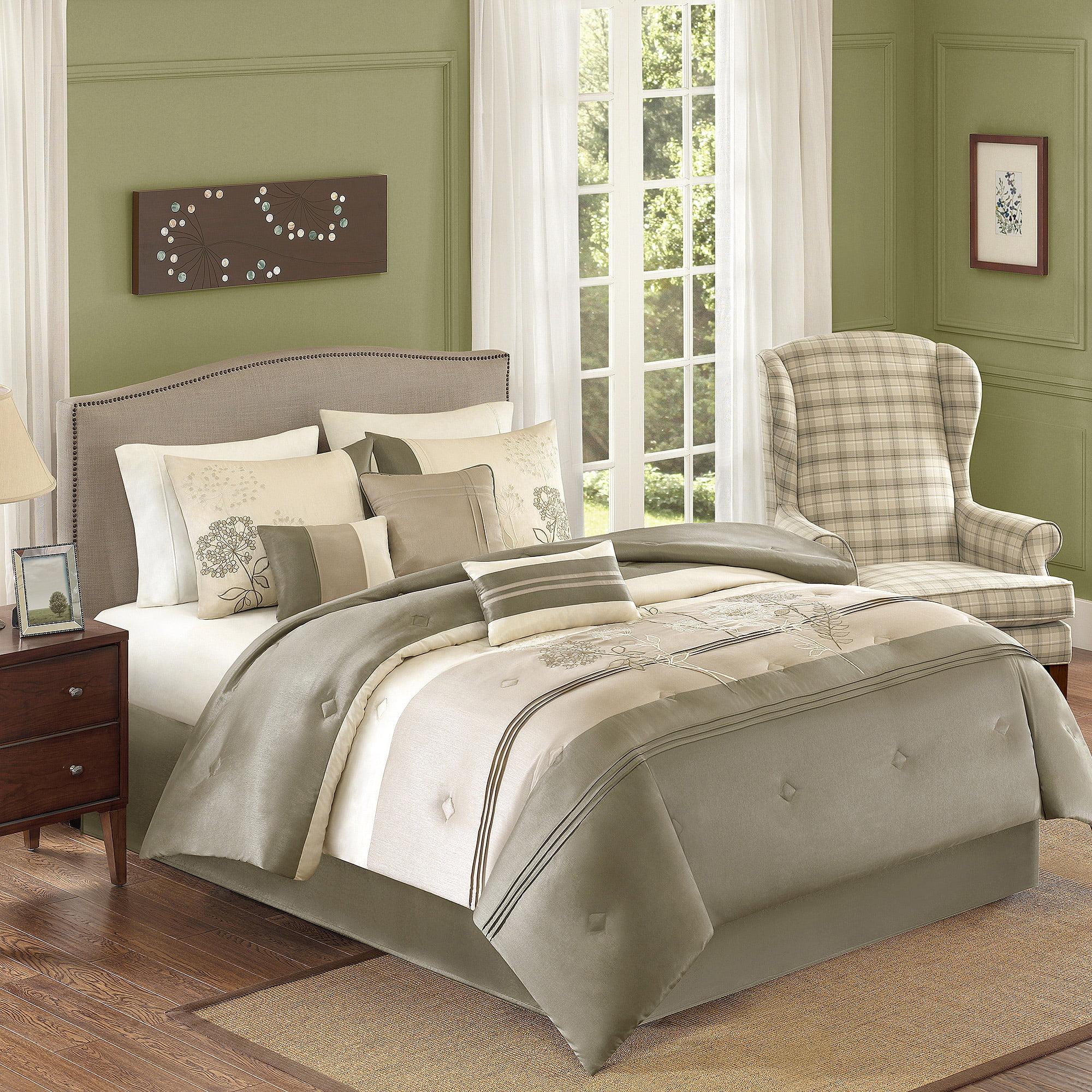 Better Homes and Gardens Jelissa 7-Piece Bedding Comforter Set, Beige