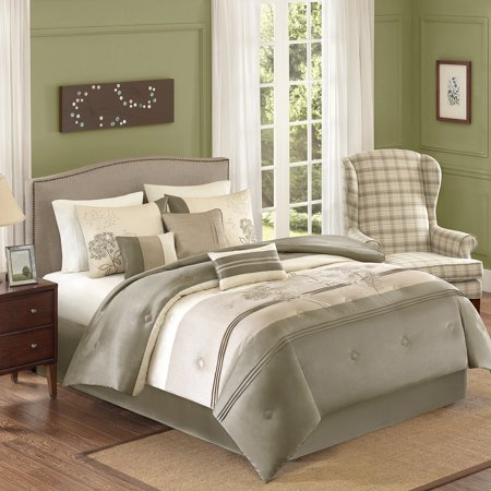 Better Homes and Gardens Jelissa 7-Piece Bedding Comforter Set, Beige