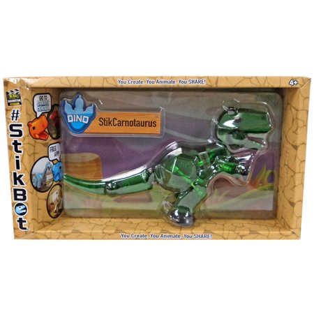Stikbot Mega Dino StikCarnotaurus Figure [Green] - Green Dinosaur