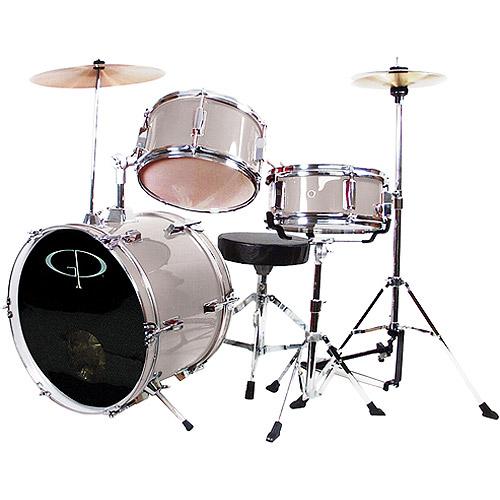 Gp Percussion 3 Piece Complete Junior Drum Set Metallic Silver