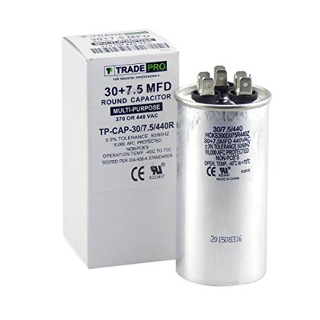 35 + 7.5 mfd dual capacitor, industrial grade replacement for central air-conditioners, heat pumps, condenser fan motors, and compressors. round multi-purpose 370/440 volt - by trade pro ()