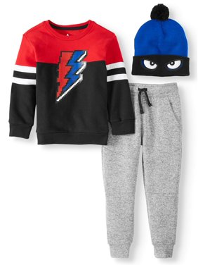 365 Kids from Garanimals Long Sleeve Thermal T-Shirt, Jogger, & Hat 3-Piece Outfit Set (Little Boys & Big Boys)