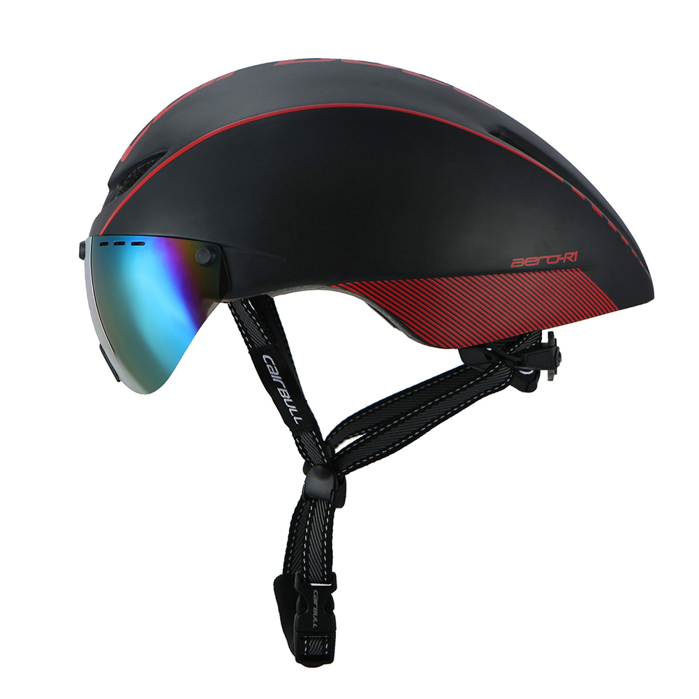 Cycling Safety Helmet with Fashion Goggles, Mountain Road Bicycle Helmet Color:Black red