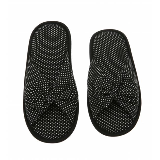 Living Health Products W5-7_blk-dot_9-10 Black Dots Printed Cotton Women Memory Foam Foot Bed Slipper with Butterfly tie - 9-10