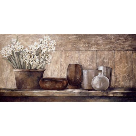 (Hyacinth on a Sideboard Stretched Canvas - Linda Thompson (24 x 48))