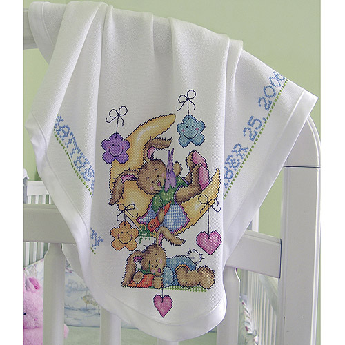 DMC AF7650 Charles Craft Infant Cotton Blanket Receiving, White Multi-Colored