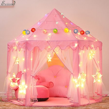 Children\'s Indoor and Outdoor Hexagon Fairy Princess Castle Play Tent, Sevend Outdoor Fairy House for Child (Pink) (Princess Play Sets)
