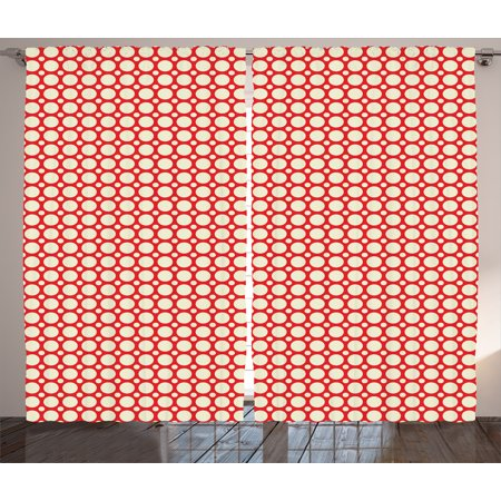 Curtains 2 Panels Set, Big and Small Polka Dots Pattern Symmetrical ...