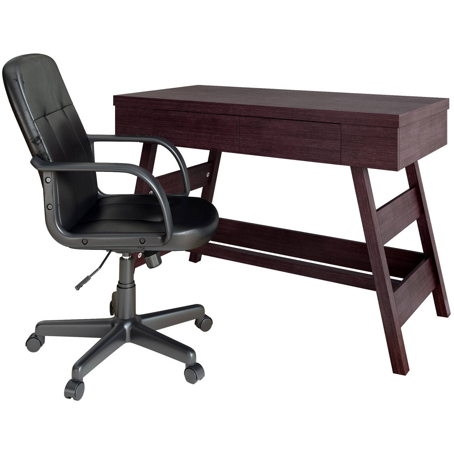 CorLiving Folio 2pc Modern Wenge Desk and Office Chair Set