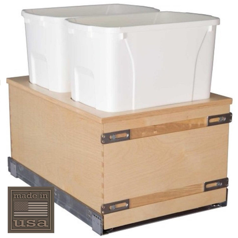 "Century Components CASBM14PF Kitchen Pull Out Waste Bin Container - (2) 34 Qt White - Blum Soft-Close 170 lb. MOVENTO 769 Slides, 14-7/8"""