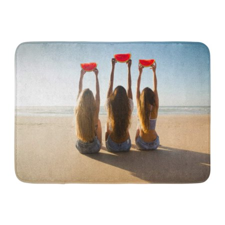 GODPOK Family Summer Best Friends Having Fun on The Beach and Eating Watermelon Fruit Young Rug Doormat Bath Mat 23.6x15.7