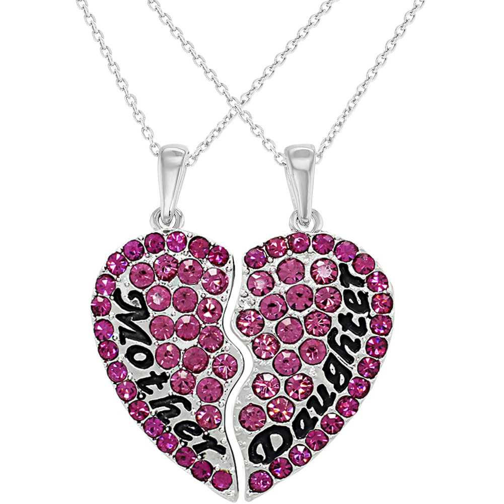Silver Tone Mother Daughter Pink Crystal Hearts Pendant Necklace 19""