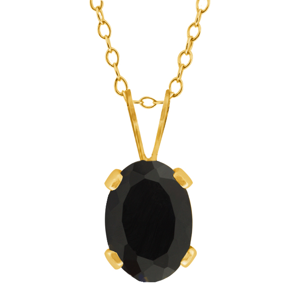 0.68 Ct Oval Shape Black Onyx Yellow Gold Plated Silver Pendant