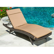 Everett Outdoor Brown Wicker Adjustable Chaise Lounge w Caramel Cushions