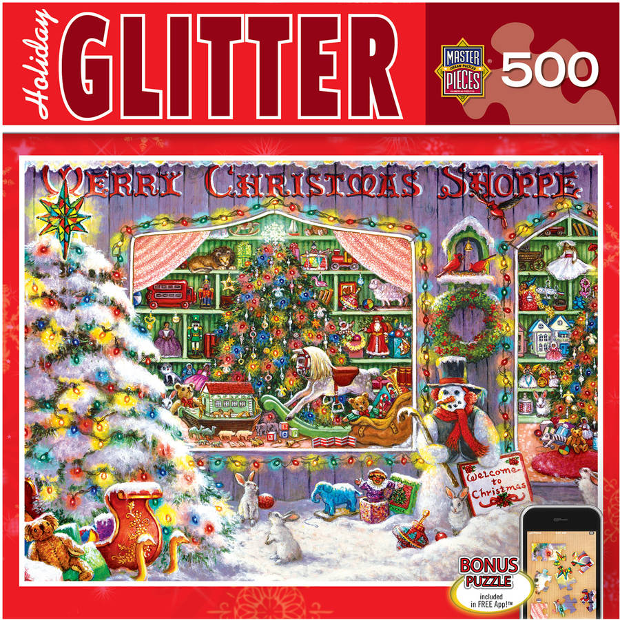 Holiday Glitter Puzzle, Christmas Shop, 500 Pieces