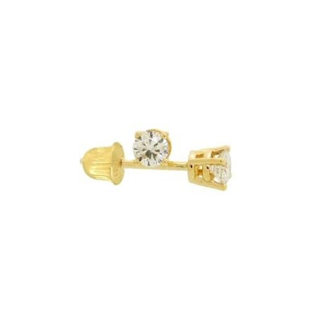 14k Yellow Gold Round 2mm Solitaire CZ Stud Screw-back Earrings for cartilage piercing or second earring
