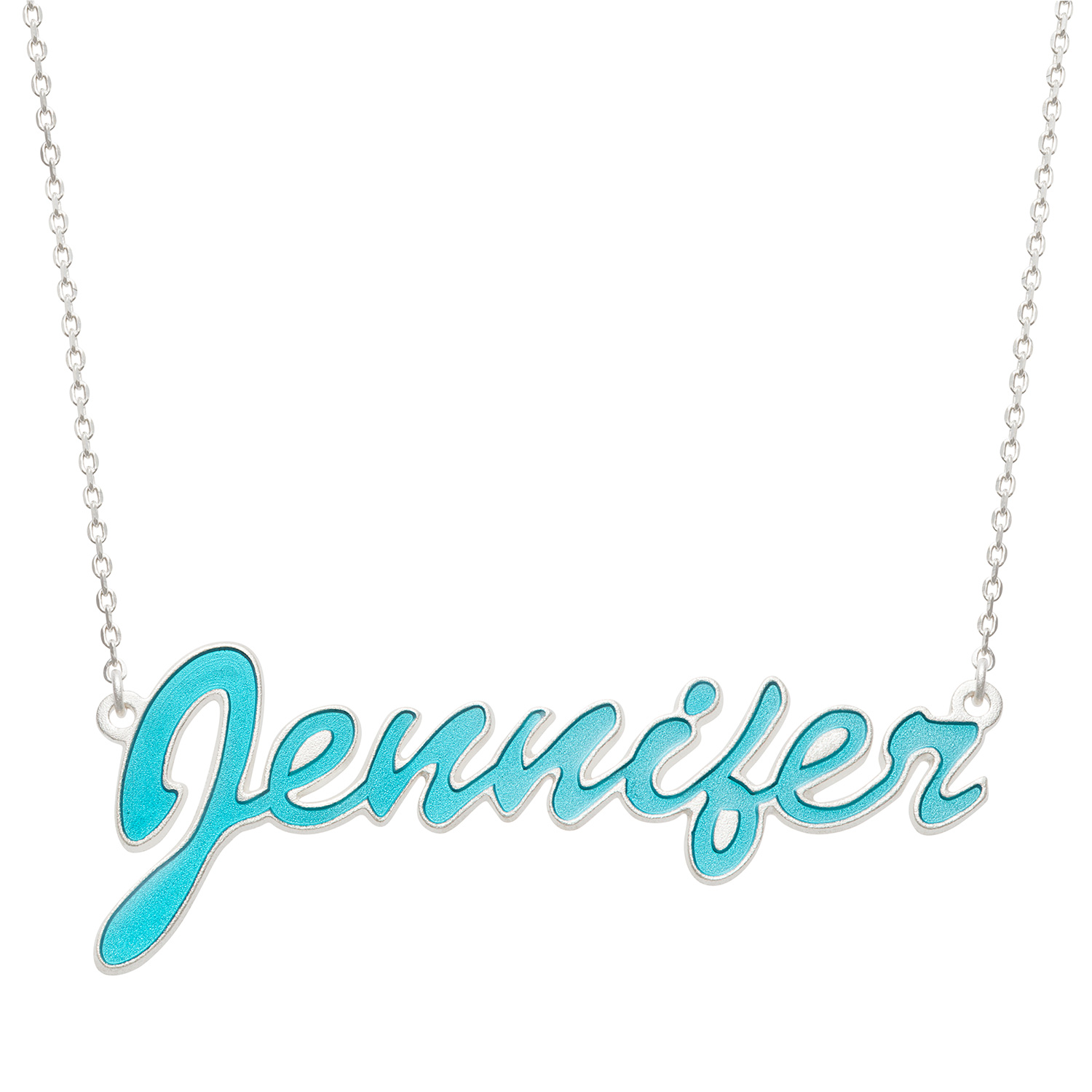 """Personalized Women's Sterling Silver or Gold over Silver Name Necklace with Turquoise Enamel, 18"""" by Generic"""