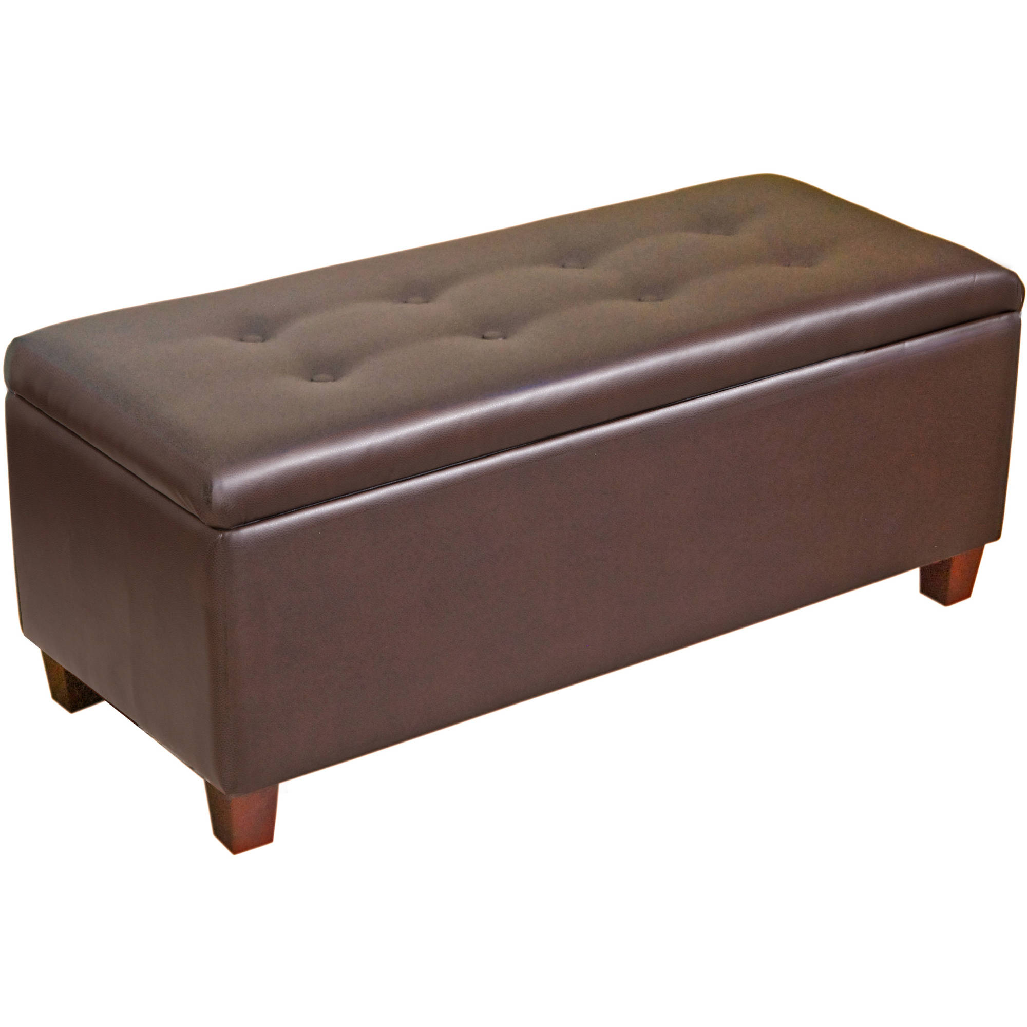 HomePop Large Faux Leather Storage Ottoman, Multiple Colors