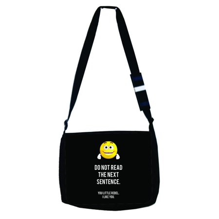 Small Black Purse - Do Not Read The Next Sentence - You Little Rebel I Like You - Cute Yellow Emoticon - Quote - Girls / Boys Black Laptop Shoulder Messenger Bag and Small Wire Accessories Case Set