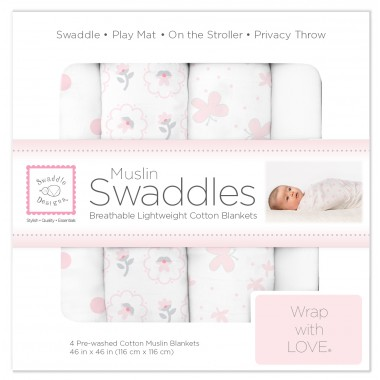 SwaddleDesigns X-Large Cotton Muslin Swaddle Blankets, Set of 4, Pink Butterflies