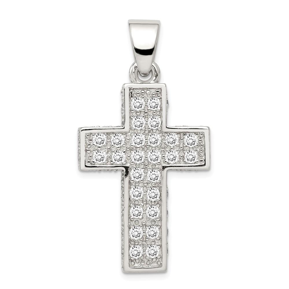 Sterling Silver CZ Latin Cross Pendant