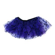 Mozlly Purple Stretchable Pull On Tutu for Women Decorated w/ Bats One Size Adult Ballet Costume Princess Fairy Halloween Outfit Comfortable Skirt w/ Garter for Ladies Costume Accessories