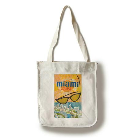 TWA - Miami Vintage Poster (artist: Klein) USA c. 1960 (100% Cotton Tote Bag - Reusable) (1960 Purses)