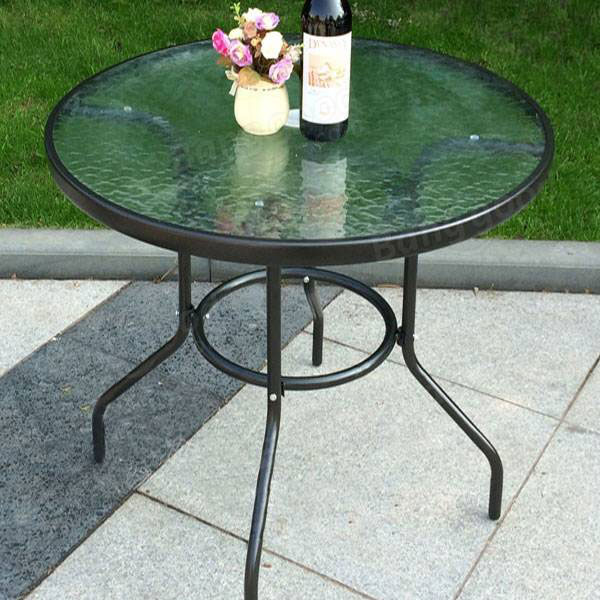 Garden Courtyard Rattan Chair Glass Table with Umbrella Outdoor Furniture Patio Dining Set