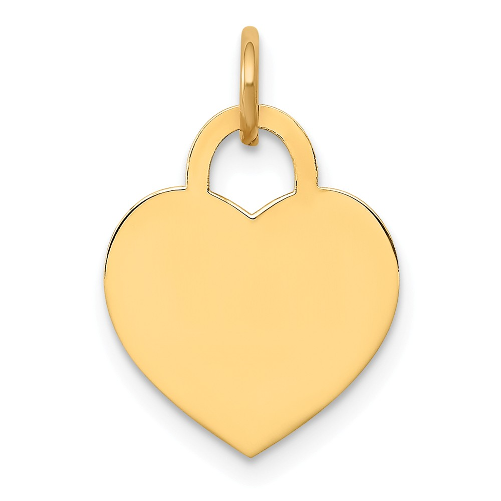 14k Yellow Gold Small Engravable Heart Charm (0.7in long x 0.5in wide)