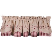 Star Berry Vine Check Fairfield Valance - Barn Red