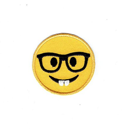 Ribbon Emoji (Smiley Face Emoji Nerd with Glasses - Iron on Applique - Embroidered)