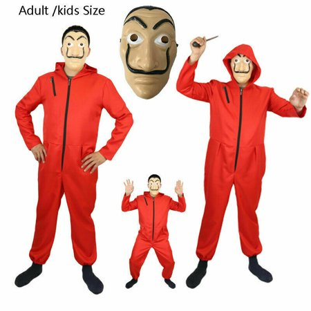 Halloween Parties In La 2019 (Fysho Unisex Dali Mask Red Costume for Dali Money Heist The Paper House La Casa De Papel Costume Hoodie Jumpsuit with Mask(Costume)