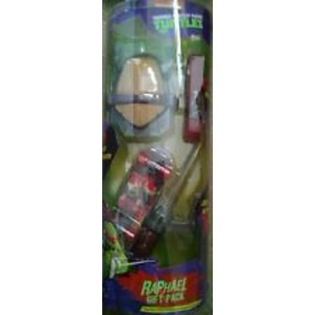 Nickelodeon Teenage Mutant Ninja Turtles Raphael Gift Pack with Water-Grow Raphael, Power Wristband, Stunt Skateboard, and Light-Up Weapon TMNT 01386