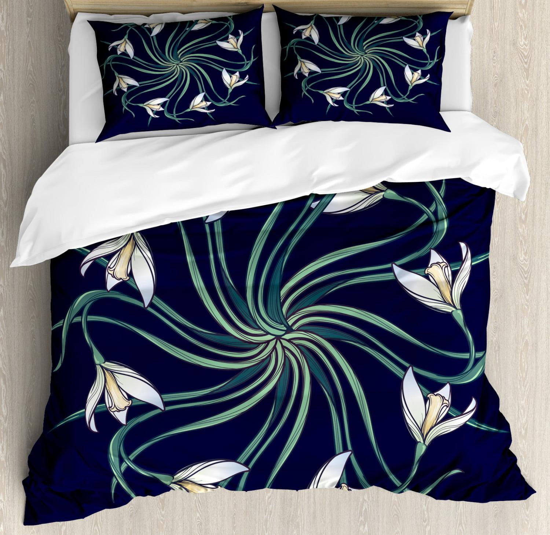 Flower Duvet Cover Set, Art Nouveau Ethnic Floral Design on Indigo Background Nature Theme ...