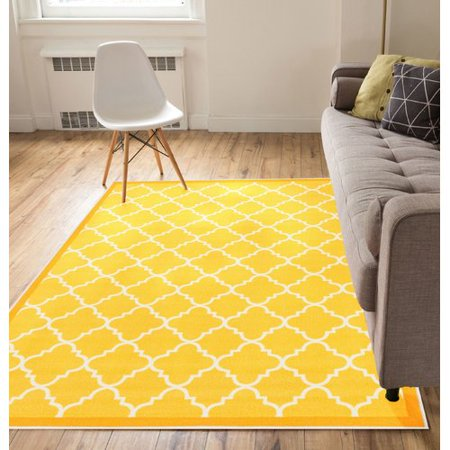 Well Woven Kings Court Brooklyn Trellis Modern Gold Area Rug ()