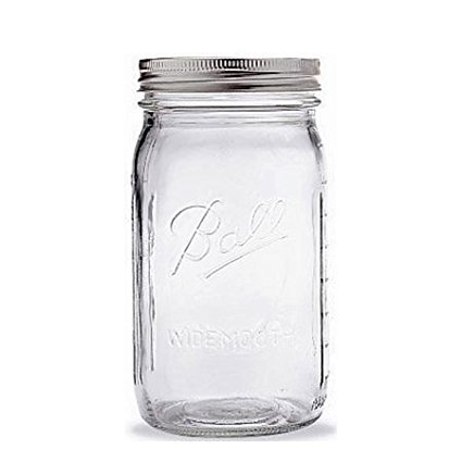 Quart Jar with Silver Lid, Wide Mouth, 1 Jar, Ideal for fresh preserving recipes such as salsas, syrups, sauces, fruits and vegetables By - Fruit Syrup Recipe
