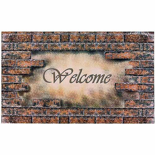 Welcome Bricks Outdoor Rubber Entrance Mat