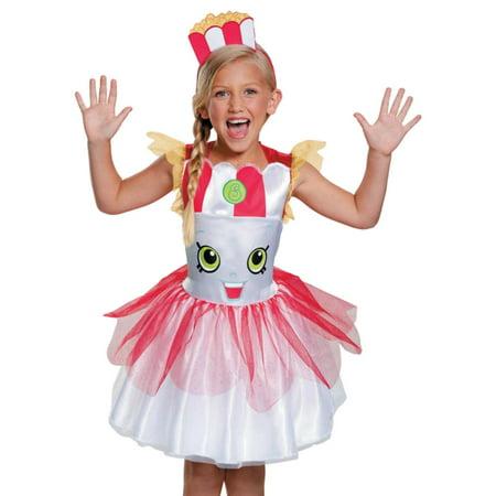 Halloween Costumes Shopkins (Girls Shopkins Poppy Pop Corn Halloween Costume Dress & Headband Small)