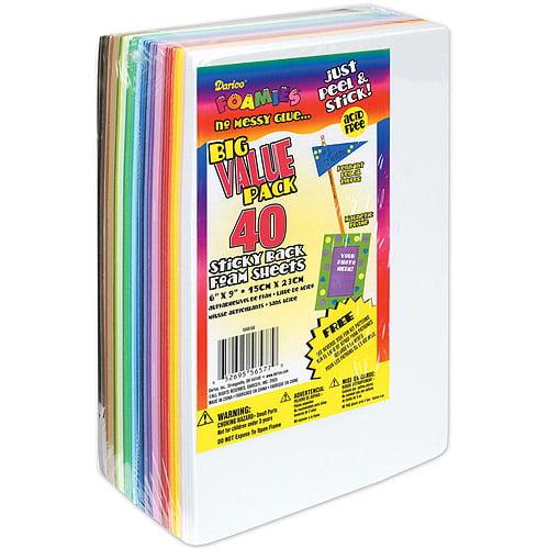 Darice Foamies Sticky Back Foam Sheets, Assorted Colors, 40/pkg