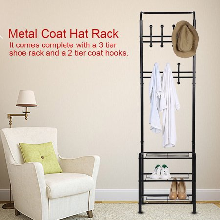 Standing Clothes Stand,Ymiko Metal Coat Hat Rack Free Standing Clothes  Stand with 18 Hooks and 3-Tier Shoe Rack Entryway,Clothes Stand with 18  Hooks