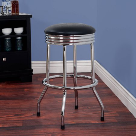 Everyday Home Retro Ribbed Swivel Bar Stool (Nostalgic Style Chrome Bar Stool)