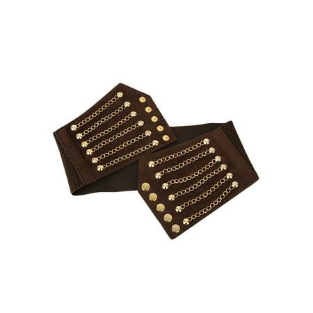 Unique Bargains Lady's Rivet Chains Decor Snap Button Fastener Cinch PU Belt Brown - image 4 de 7